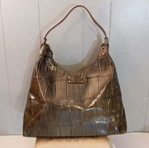 Kate Spade Green Croc embossed patent leather bag